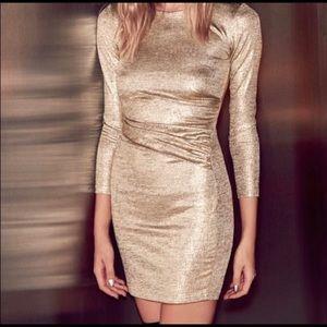 LuLus gold long sleeve dress